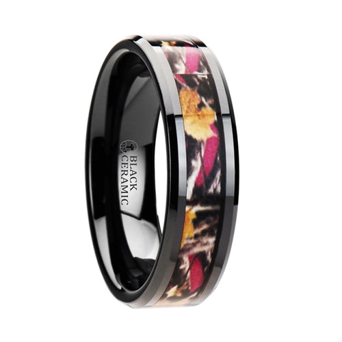 ECCLES Realistic Tree Camo Black Ceramic Wedding Band with Real Pink Oak Leaves - 6mm - 8mm