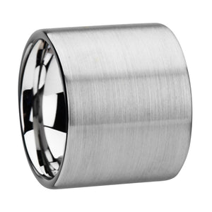 CHAMPION Flat Pipe Cut Tungsten Carbide Ring with Brushed Finish - 20 mm