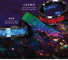 COSMO Tungsten Wedding Band with Beveled Edges and Red Opal Inlay - 4mm, 6mm & 8mm