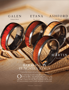 ASHFORD Polished Edges Domed Tungsten Men's Wedding Band with Red Oak Wood Inlay - 8mm