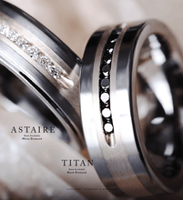 TITAN Flat Tungsten Wedding Band w. Brushed Silver Inlay Center, 9 Channel Set Black Diamonds - 8mm