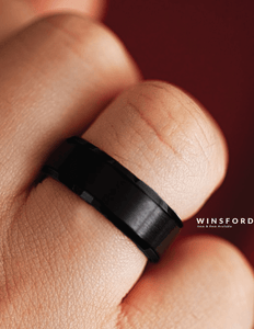 WINSFORD Brushed Finish Black Ceramic Wedding Band with Beveled Edges 6mm & 8mm