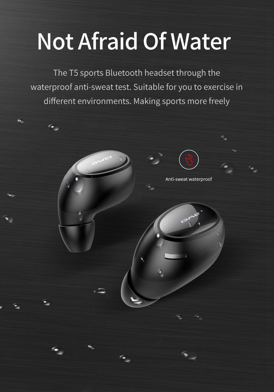 Authentic aWEI T5 TWS Bluetooth V5.0 Stereo Music Earbuds Headset