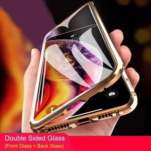 Magnetic Absorption Metal Double-sided Tempered Glass Protective Case For Smartphones - TOBS