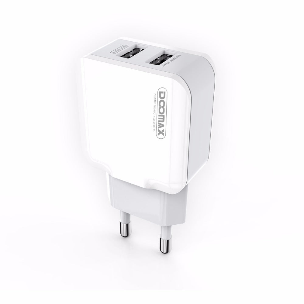 Doomax D02 Dual USB Charger 5V 2.1A For Smartphones Charger EU Plug Fast Wall Charger