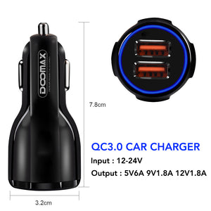 Doomax DL-01 Car Chager 2 USB 2.4A Micro, Type C & iPhone