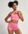 Cross Front Detail With Seamless In Back Crop Top in Pink