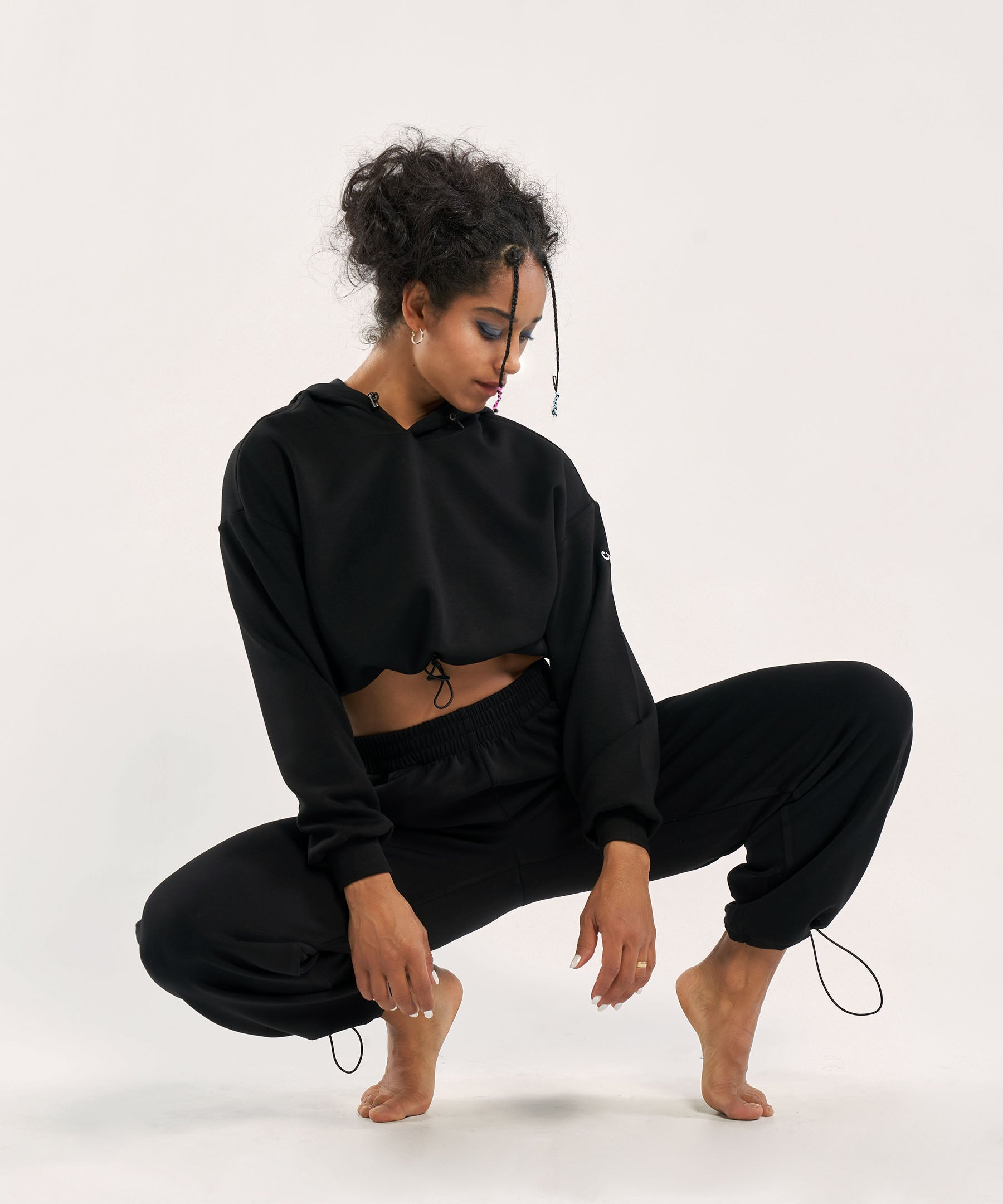 Cropped Hoodie Oversized Boxy Sweatshirt in Black