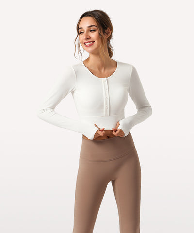 Round Long Sleeve Crop Top