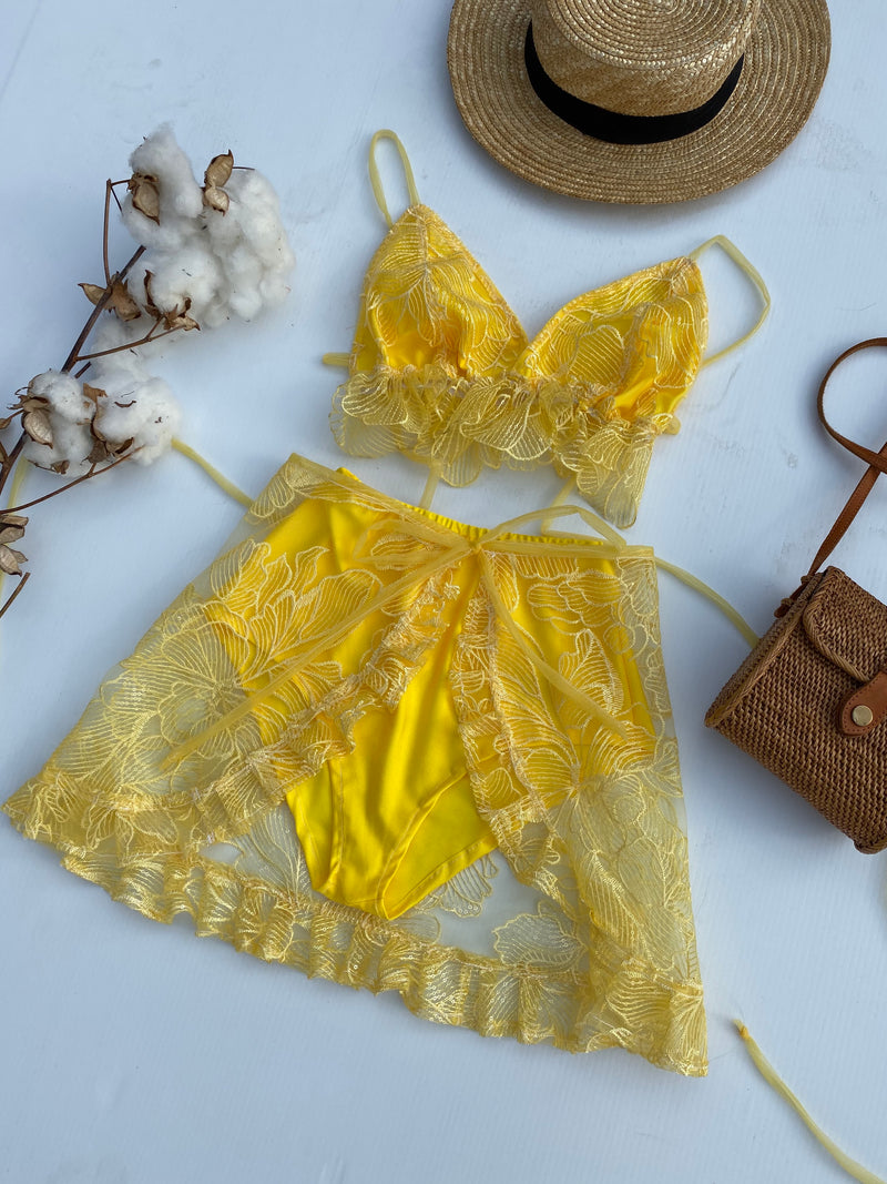 Create Your Own - Lace up Bralette, Wrap Skirt and Bloomers Set