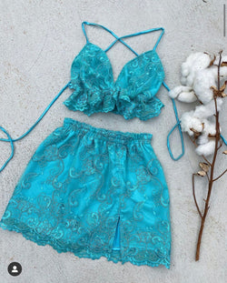 Create Your Own - Lace up Bralette and Elastic Split Skirt (Lace)