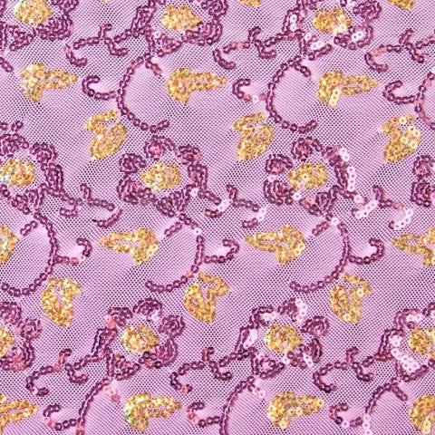 Purple Floral Sequin Stretch Mesh