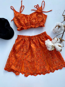 Create Your Own - Frill Crop and Double Split Skirt - Lace