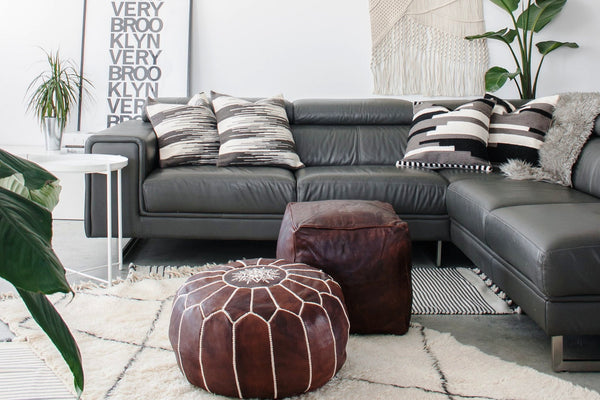 Moroccan Embroidered Leather Pouf Browny Marrakesh Style Interesting Embroidered Leather Pouf