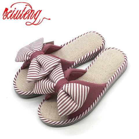 Warm Bowtie Home Slippers for Women