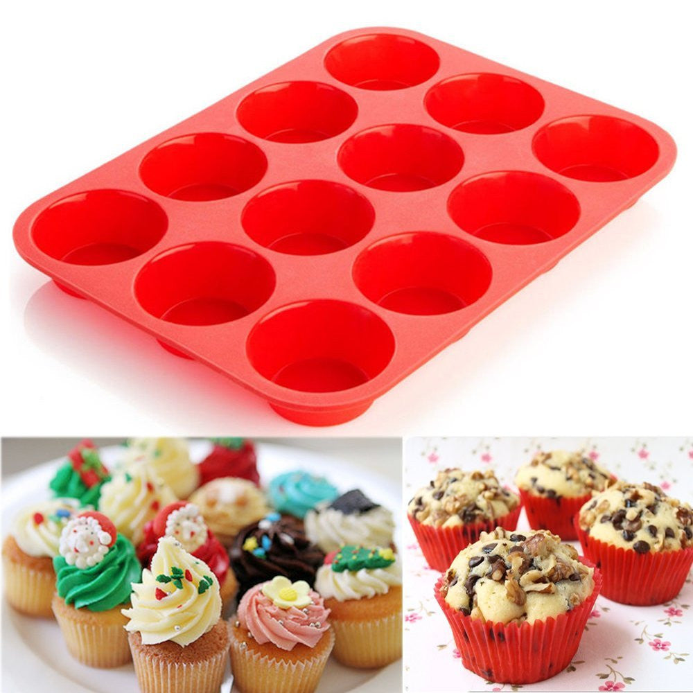 12 Cup Silicone Muffin or Cupcake Baking Pan