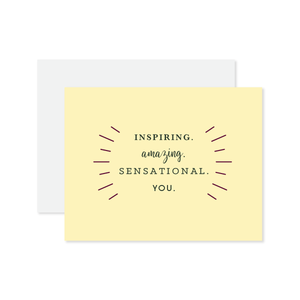 Inspiring Amazing You Letterpressed Card