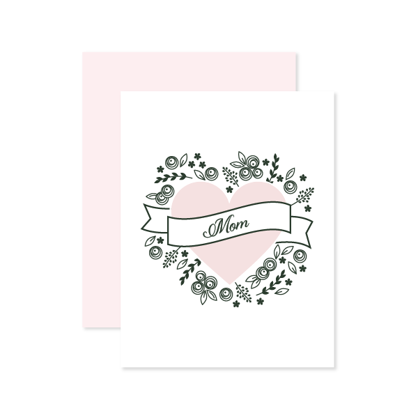 Mom Heart Letterpressed Card