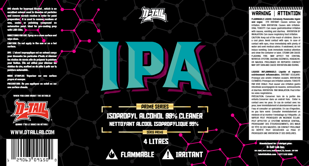 IPA - 99% Isopropyl alcohol-based cleaner - D-Tail Lab
