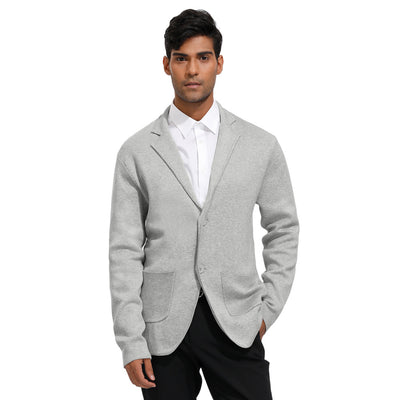 PJ Paul Jones Men's Casual Two-Button Notch Lapel Knitted Blazer Coat Cardigan With Pockets