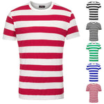 Mens Slim Fit Round Neck Short Sleeve Tee T-shirts Striped Casual Tops Blouse