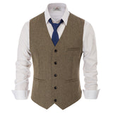 Paul Jones Men's Slim Fit V-Neck Single Breasted Handkerchief Hem Waistcoat Vest Coat