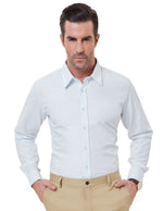 PJ Mens -Slim Cuff With Buttons Long Sleeve Classic Point Collar Formal Shirt