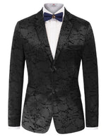 Mens Long Sleeve Lapel Collar Jacquard Blazer Coat Formal Business Overcoat 2XL