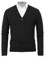 Mens V-Neck Cable Knitted Jacquard Cardigan Sweater with Ribbing Edge
