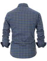 Mens Formal Shirt Office Checkered  Buttoned Placket Long Sleeve Comfortable