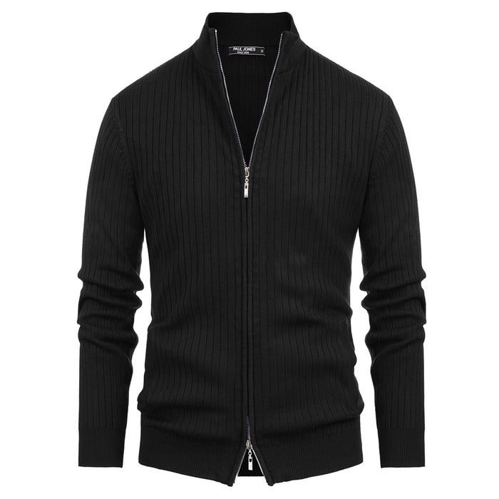 PJ Men's Stand Collar Zip-UP Knitted Coat Knitwear Cardigan Stylish Long Sleeve
