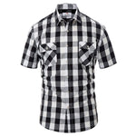 Casual Grid Pattern Short Sleeve Square Collar Cotton Shirt Top - Shirts - pjpauljones