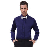Mens Stylish Slim Fit Long Sleeve Wedding Party Formal Satin Dress Shirt Tops