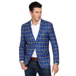 PJ Mens Stylish Grid Pattern Notch Lapel Split Back Two-Button Blazer Coat Plus