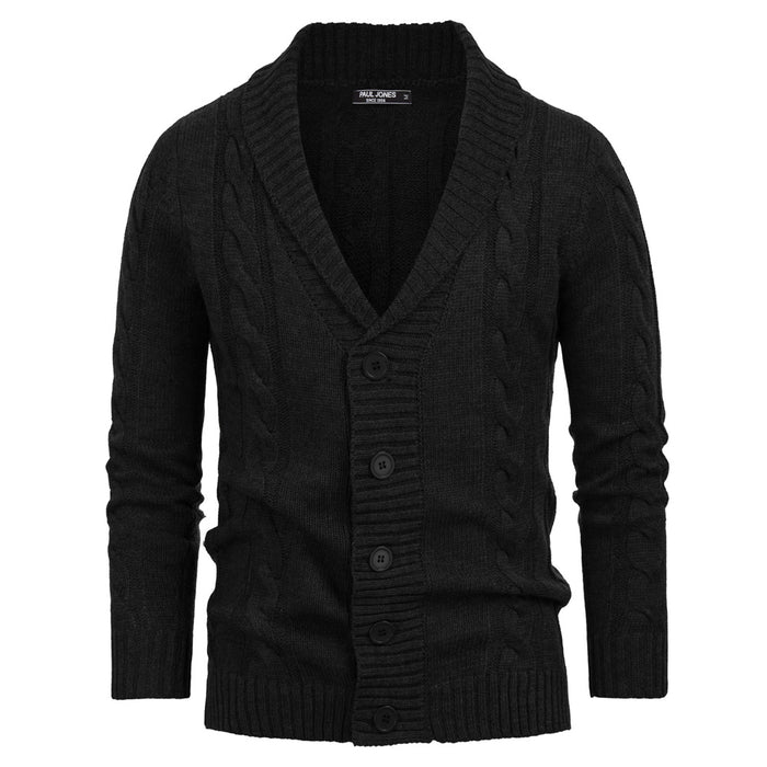 PJ Men Shawl Collar Cardigan Sweater Knitwear Long Sleeve  Stylish Cable Pattern