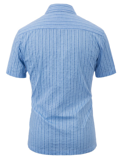 PJ Men's Striped Short Sleeve Square Collar Jacquard Cotton Shirt Flat Hem Tops