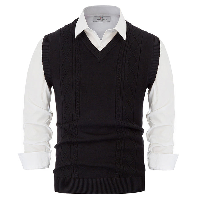 Slim Fit Sleeveless V-Neck Cable Pattern Knitwear Sweater Vest