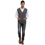 PJ Paul Jones Men's Sweater Vest Sleeveless Sweater V-Neck Button Placket Cable Pattern