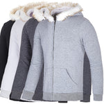Fur Fleece Mens Casual Coat Winter Hooded Zipper Coat Outwear Warm Slim Jacket