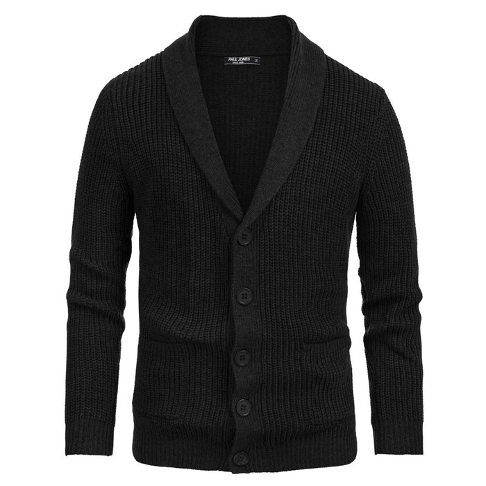 PJ Men's Shaw Lapel Knitted Sweater Thicken Knitwear Long Sleeve Button Closure