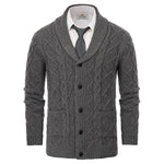 V-Neck Shawl Lapel Cable Knit Pattern Button Sweater Cardigan