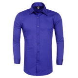Men's Stylish Slim Casaul Solid Color Long Sleeve Shirt Plain Tee Shirt Tops