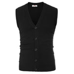 PJ Mens Sleeveless V-Neck Button Knitting Cut-off Vest Knitwear Jacket Coat New
