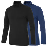 Fashion Men Long Sleeve Pullover High Neck Turtleneck Stretch Slim Casual Tops