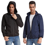 Men's Hooded Lightweight Windbreaker Packable Rain Jacket