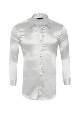 Men's Solid Color Shiny Satin Silk Like Dance Prom Dress Shirt