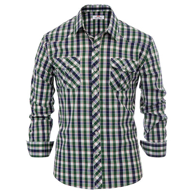 Summer Autumn Men's Stylish  Grid Pattern Long Sleeve Classic Collar Shirt Tops