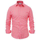 Men Dress Casual Long Sleeve Shirts Stylish Plaid Slim Fit Business Shirt Spring