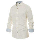 Paul Jones Men's Long Sleeve Button-Down Collar Shirt Contrast Stripe Decorated Tops
