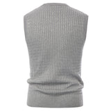 Men's V-Neck Sweater Vest Knitted Sleeveless Sweater Cable Pattern Pullover